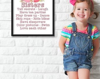 Sisters Nursery Art - 11x14 Unframed Art Print - Great Nursery or Child's Room Decor
