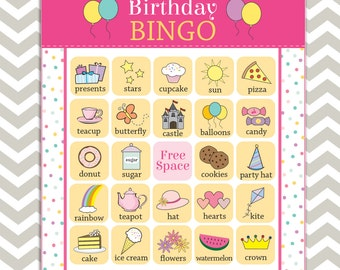 Printable Girl's Birthday Party Bingo, 16 unique game cards, Instant download!