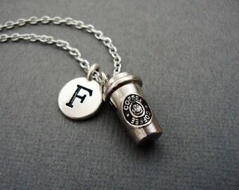 Coffee To Go Cup Necklace, Personalized Cup of Coffee Keychain Keyring, Custom Coffee Lovers Bangle Bracelet, Java Espresso Mocha Caffeine