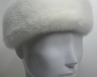 Real White Mink Fur Headband new made in the usa