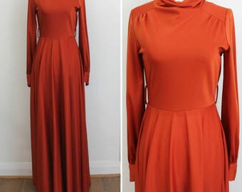 Vintage 70s burnt orange long sleeve maxi dress, full skirt with drape, small