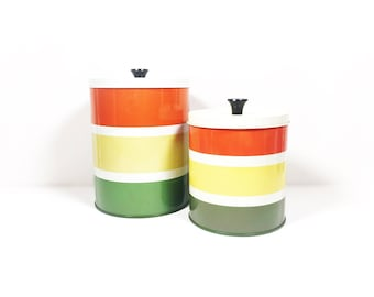 Vintage Mod Striped Metal Canisters, Orange Yellow Green White Striped Storage Canisters, Metal Canisters with Lids, Stylish Storage Tins
