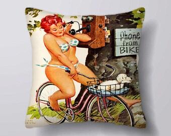Bike Pin Up Girl Phone Bike - Cushion Cover Case Or Stuffed With Insert