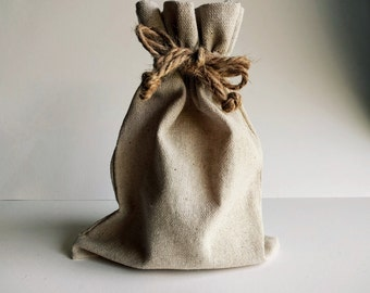 Natural Linen Drawstring Bag with Hemp Pull Cords, 3x5, 4x6, 5x7, 6x10, 8x10, OR 10x12 in., storage pouch, gift bag, wedding, craft