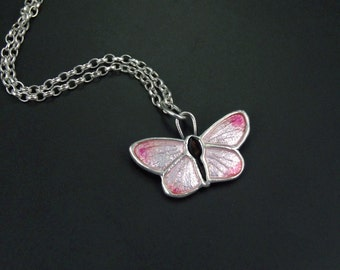 Pink Butterfly pendant - handmade - on sterling silver chain
