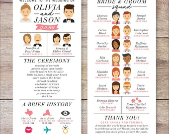 Infographic Wedding Program, Wedding Program Portrait, Fun Wedding Program, Printable Wedding Program, Unique Program, Modern Program