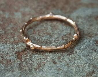 Wedding Bands Women, Gold Twig Ring, 14K Gold Ring, Twig Ring Gold, Twig Wedding Band, Womens Wedding Band, Gold Twig Ring, 14K Gold Ring
