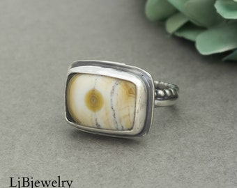 Ocean Jasper Ring, Silver Ring, Statement Ring, Sterling Silver, Metalsmith, Handmade Ring, Silver Jewelry, Artisan Jewelry