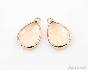 2pcs - Light Peach Glass and Gold Framed Drop Pendent / peach / 16k gold plated / glass / drop pendant / 12mm x 18.5mm / SLPG074-P
