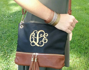 Personalized Monogrammed Vegan Leather Crossbody Purse with Tassel and FREE Monogram Multiple Colors Gray Black Silver Navy Monogram Purse