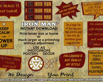 Iron Man Inspired Theme Party Props, Tony Stark, INSTANT DOWNLOAD, Superhero, Avengers, Marvel, Comic, Movie, Robert Downey Jnr, Photo Prop