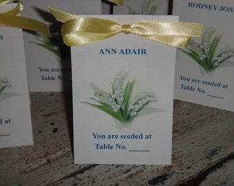 Lily of the Valley Design w/ Wildflower Seeds Place Cards Printed with Guest Names..You are Seeded at ....Wedding Seeds Party Favors