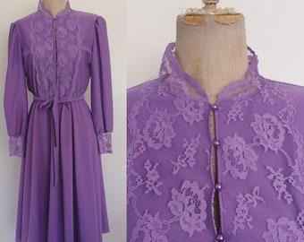 1970's Lavender Polyester Edwardian Dress Size Small Medium by Maeberry Vintage
