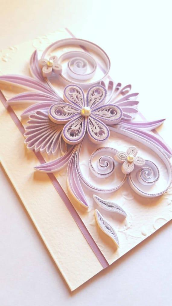 elegant handmade birthday card flowers design quilling