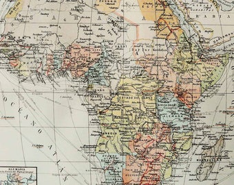 1900 Antique map of AFRICA. 118 years old chart