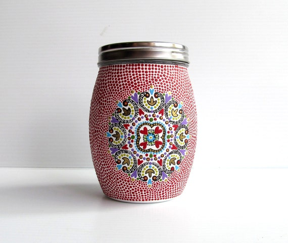 Glass jar and lid: Hand painted glass jar