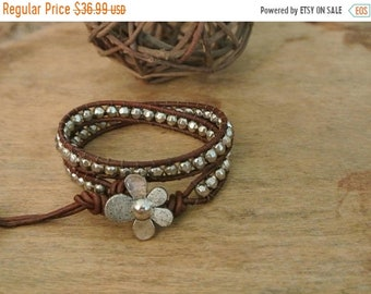 SALE 50% OFF Hearts Delight Pewter Beaded Leather Wrap Bracelet
