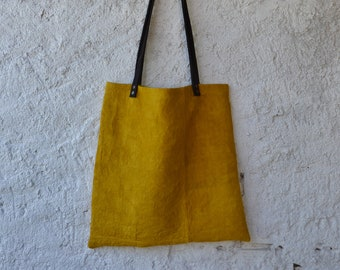 Yellow bag eco friendly bright hemp hippie sustainable rustic minimalist environmentally friendly earthy sun hand stitched boho yoga totes