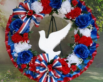 Cemetery Wreath, Red, White and Blue, Cemetery Flowers, Gravesite, Memorial Day, Funeral, Americana, Dove, 4th of July, Fourth, Patriotic