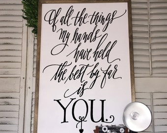 Of all the things my hands have held - Wood Framed Sign