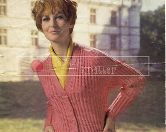 Lady's Raglan Cardigan DK 32-38in Sirdar 2429 Vintage Knitting Pattern PDF instant download