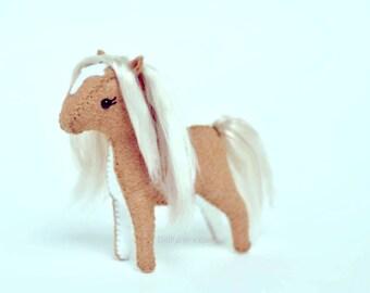 Handsewn Felt Animal Stuffed Pony * Hand Sewn Stuffed Horse * Soft Sculpture Horse Lovers Gift.