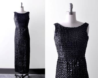 1950's sequin dress. bombshell. 50 black dress. pinup. long. s. 60's wiggle dress.