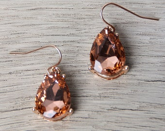 Pear-Shaped Rhinestone Drop Earrings