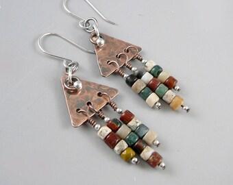 Triangle Earrings, Nickel Free Earrings, Copper Earrings, Copper Anniversary Gift, Long Drop Earrings, Chandelier Earrings, Cool Earrings