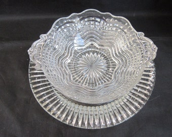 Swirl Handled  Bowl Plate Set Vintage 1930-1940 Anchor Hocking Serving Small Bowl Dining Collectible