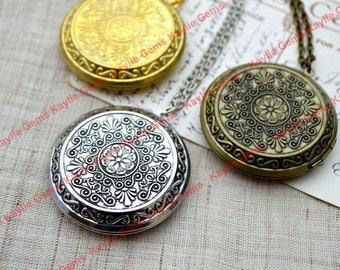 Victorian große Runde Vintage-Stil Medaillons Halskette