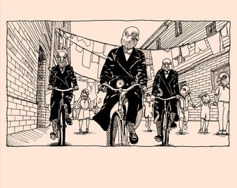 ORGANIC BABY CLOTHING - Pigeons bicycle through the streets of London in this Call the Midwife inspired graphic!