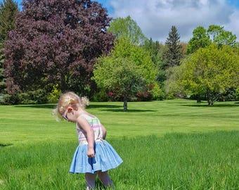 Girls summer dress, little girl dress, striped dress, baby girl dress, striped dress, summer dress, denim chambray, baby shower gift