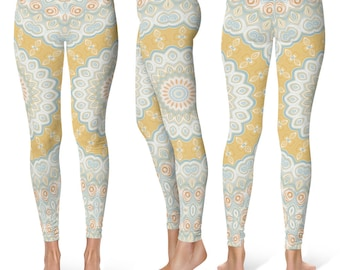 Spring Leggings Yoga Pants, Mandala Printed Yoga Tights for Women, Festival Clothing