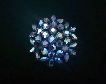 Vintage blue purple iridescent aurora borealis rhinestone brooch pin - Antique jewelry - snowflake, flower, wedding, bridal, unique gift