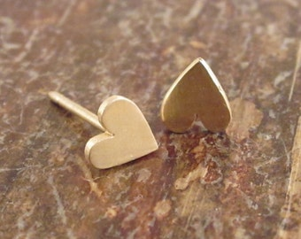 14K Gold Heart Earrings Valentines Day Gift for Women 14K Gold Studs Heart Studs Gold Heart Stud Earrings Valentine Jewelry Girlfriend Gift