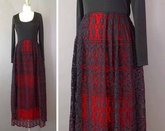 70s La Espanola Dress - 1970s Vintage Designer Black Red Dress - Floor Length Long Sleeve Lace Dress by Don Luis de Espana - Floral Lace