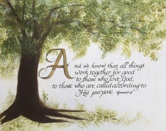 Romans 8:28/Bible Art/Calligraphy/Print of Original/Paper Only