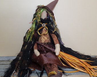 Tilda doll Fabric doll - Witch, woodland witch, mossy hair, cape, brown skirt, lace top, feather broom