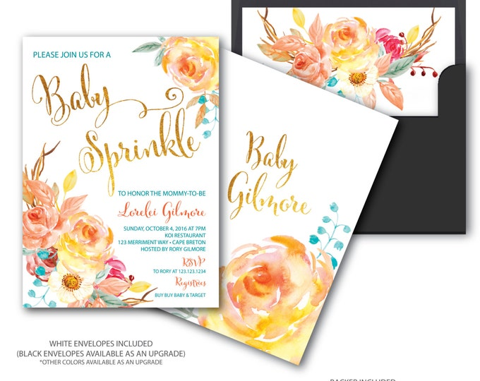 Fall Baby Sprinkle Invitation // Baby Shower Invitation // Floral // Blue// Orange // Gold // Yellow // Watercolor // CAPE BRETON COLLECTION