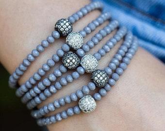 MEMORIAL DAY SALE Crystal Bracelet, Stacking Bracelet, Beaded Bracelet, Stretch Bracelet, Stackable Bracelet, Silver Bracelet, Dainty Bracel
