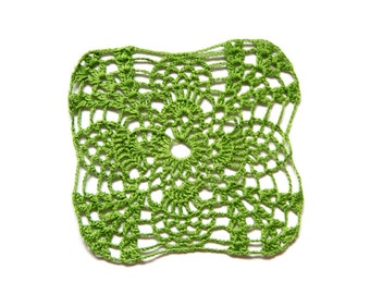 Bright  green hand dyed Crochet Doily Vintage doily