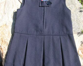 Vintage Girls Dress - Pleated Dress - School Uniform - Navy Girls Dress - Size 3