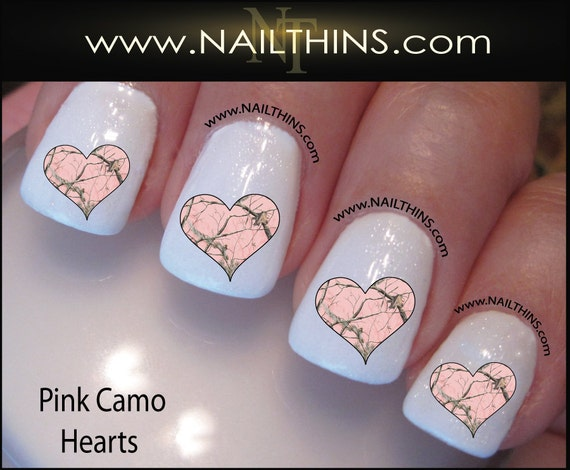 Pink Camo Hearts Nail Decal Camouflage Nail Design By