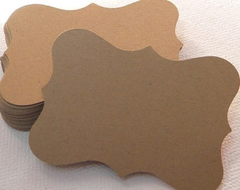 25 brown paper tags. Bracket style tags perfect for gift tags, wedding favor tags, rustic or shabby tags