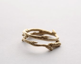 9ct Solid Gold Twig ring
