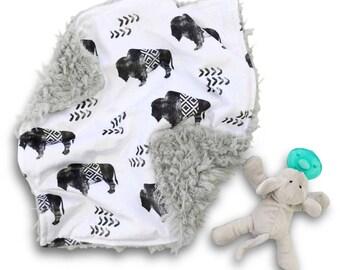 Buffalo Minky Baby Boy Lovey | Black and White Tribal Security Blanket | Mini Baby Blanket | Faux Fur Lovie
