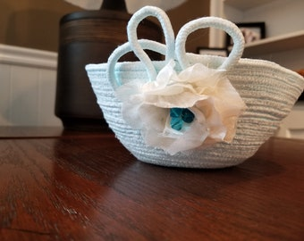 Hand dyed & handmade Coiled Rope Bowl/Basket