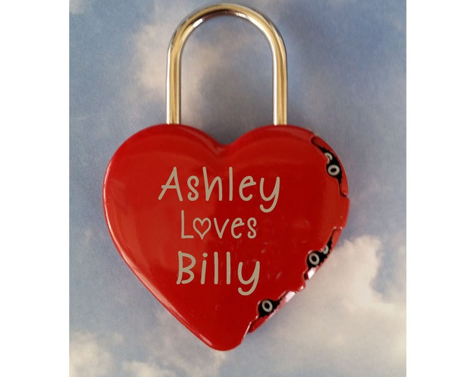 NokNoks HEART SHAPED LOCK -  Combination Type Lock, Personalized,  Engraved