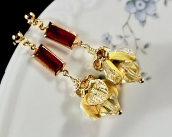 Vintage Earring Assemblage, Yellow Red Gold Plated Pierced Glass Posts Boho Unique Upcycled Reclaimed Shabby Chic Jennifer Jones, OOAK Flame